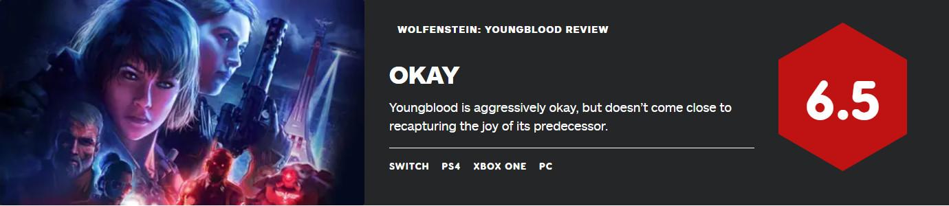 《德军总部:新血液》首批评分出炉!IGN 6.5分