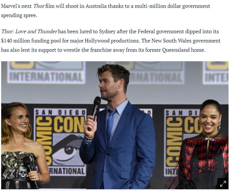 《雷神4》2020年8月澳洲开拍 锤哥表示很高兴
