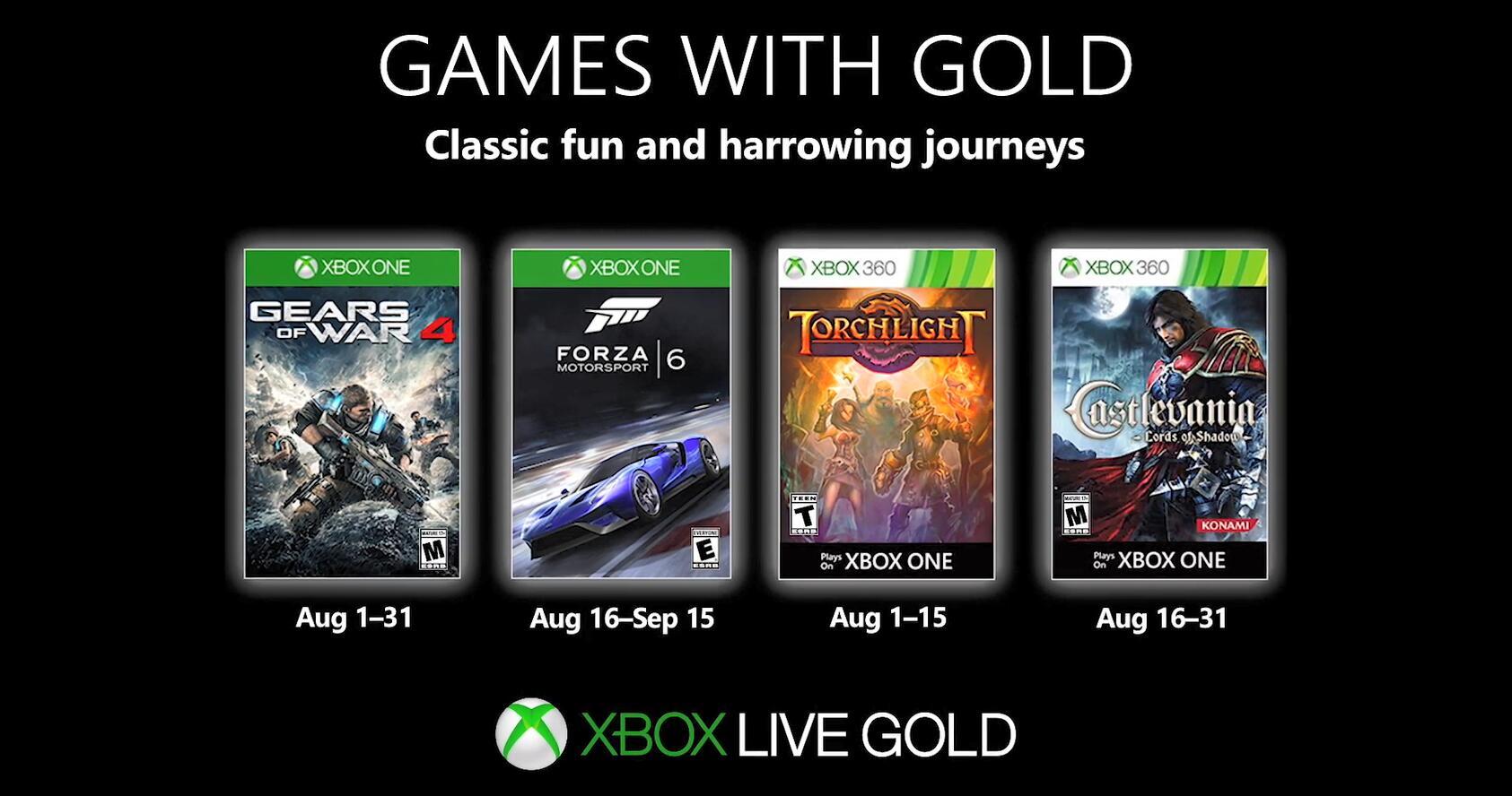 Xbox金会员八月会免游戏公布 阵容豪华不容错过