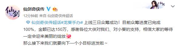 <b>《仙剑奇侠传》龙葵手办众筹成功 3天达成150万目标</b>