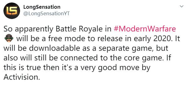 传《使命召唤16》大逃杀将独立出来 免费、2020年初发售