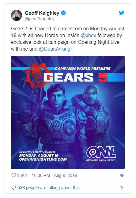 """《战争机器5》""""无限模式""""将于Gamescom 2019公开"""