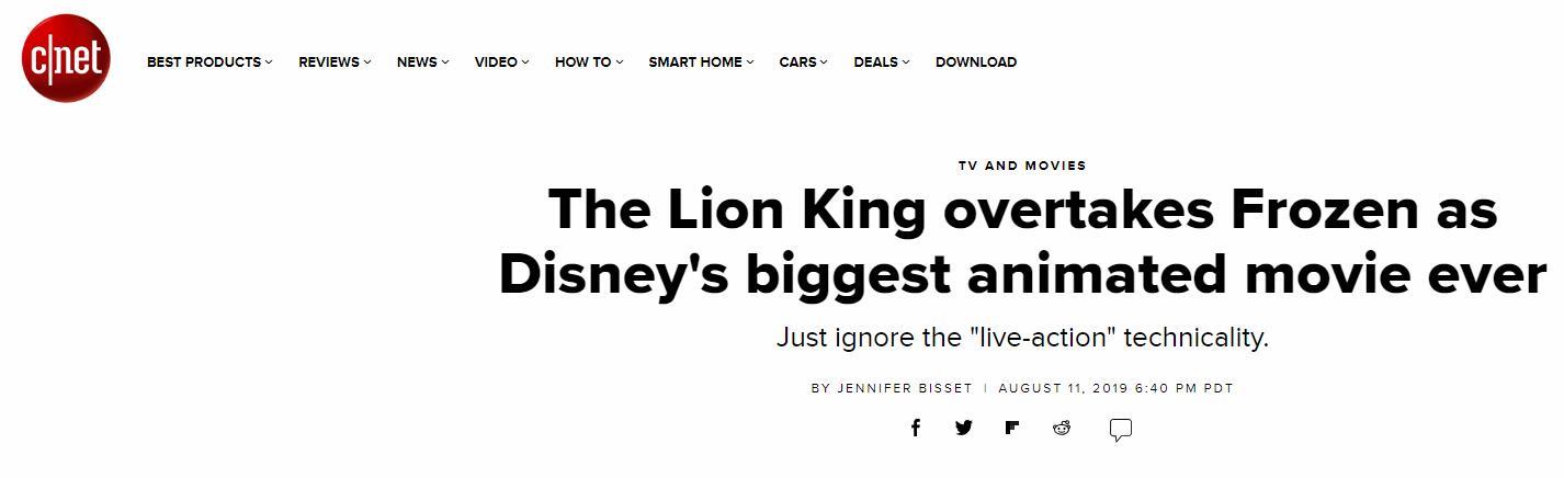《狮子王》 超越 《冰雪奇缘》  成迪士尼最卖座的动画电影