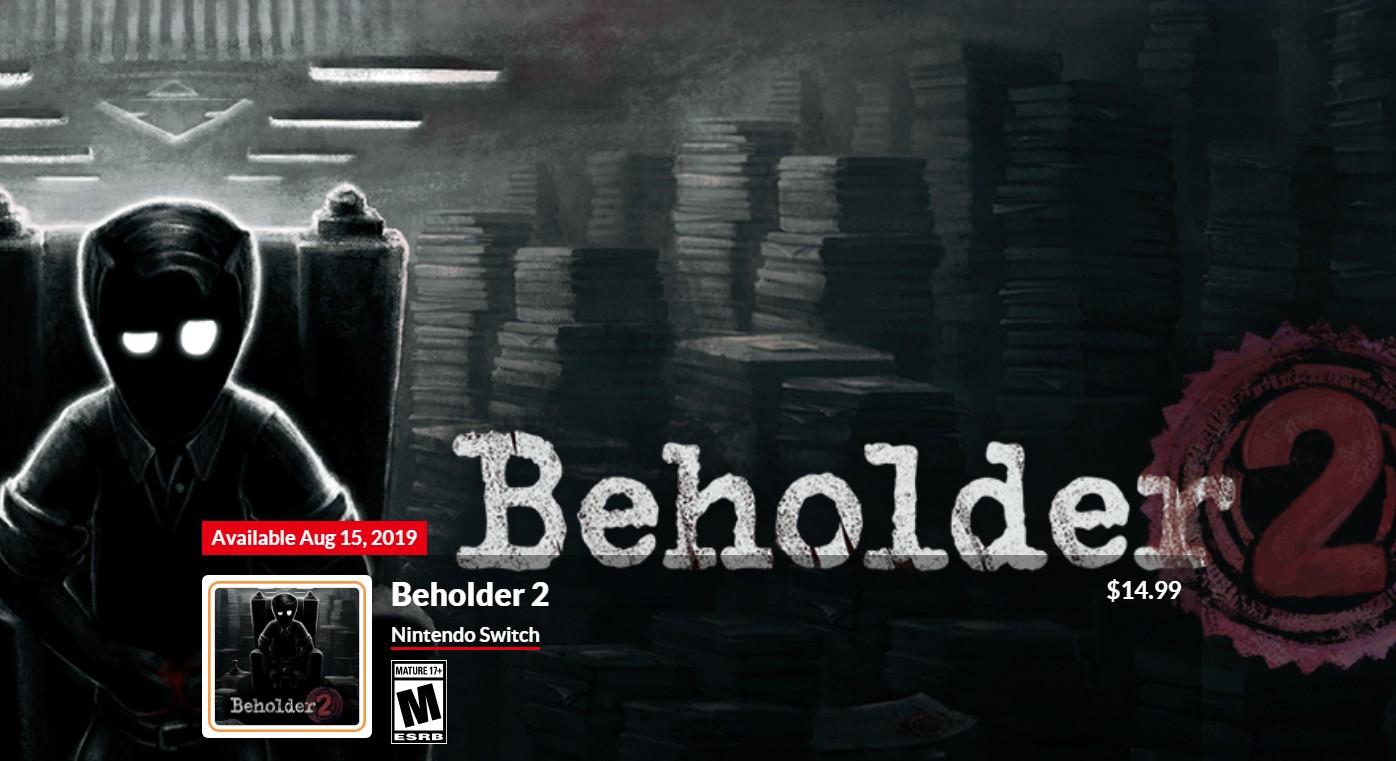 反乌托邦独立游戏《旁观者2》8月15日登陆Switch