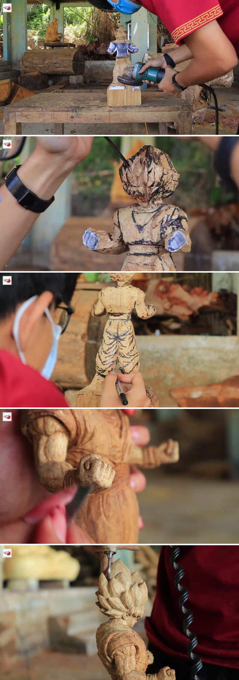 越南雕刻达人制作《七龙珠》悟空木雕 细节逼真