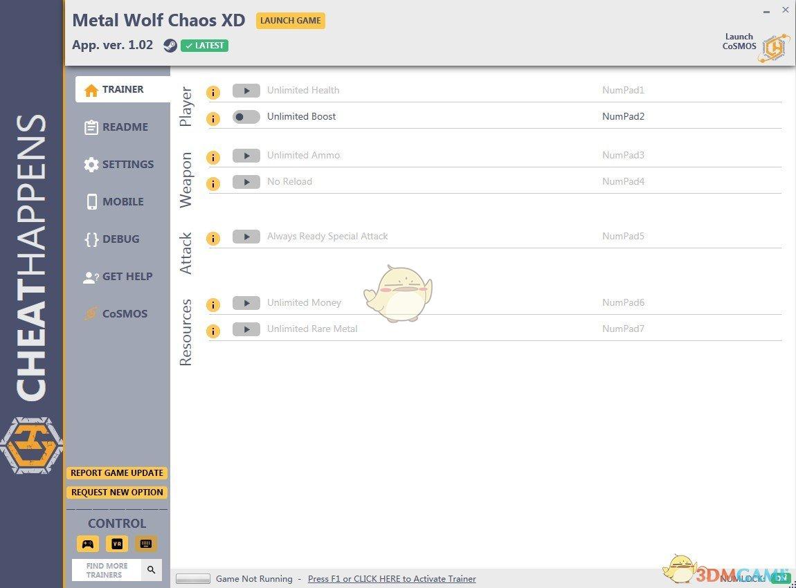 《钢铁苍狼:混沌之战XD》v1.0七项修改器[Cheat Happens]