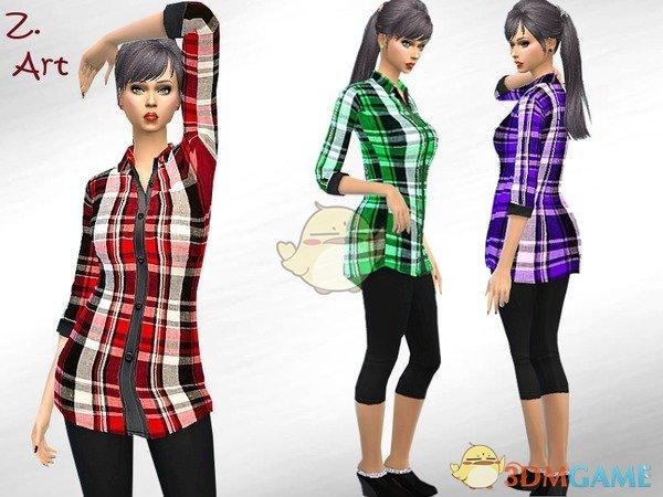 《模拟人生4》简洁格子衬衫MOD