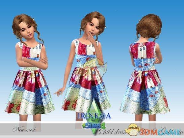 《模拟人生4》小女孩蜡笔长裙MOD