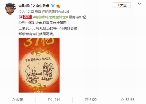 《哪吒之魔童降世》票房破37亿位列中国影史第四位