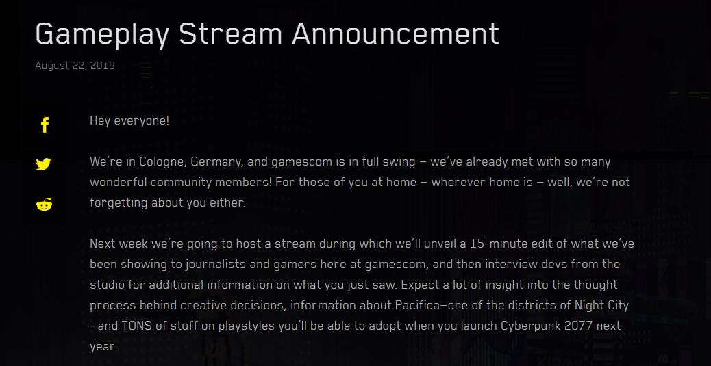 《賽博朋克2077》將于8月31日公開游戲實機演示 時長15分鐘