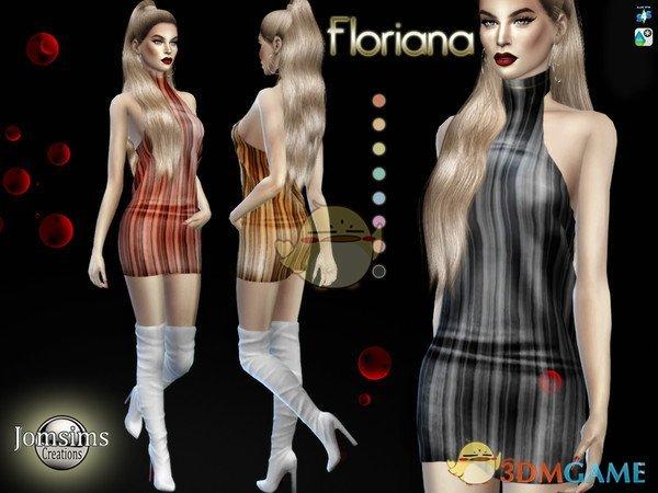 《模拟人生4》条纹露肩女性连体皮衣MOD