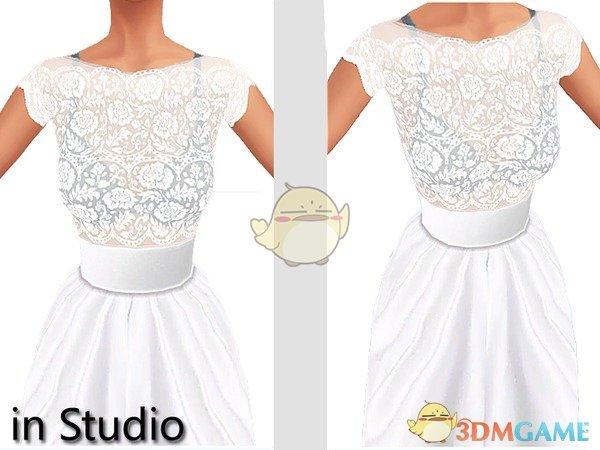 《模拟人生4》白色性感蕾丝透明婚纱MOD