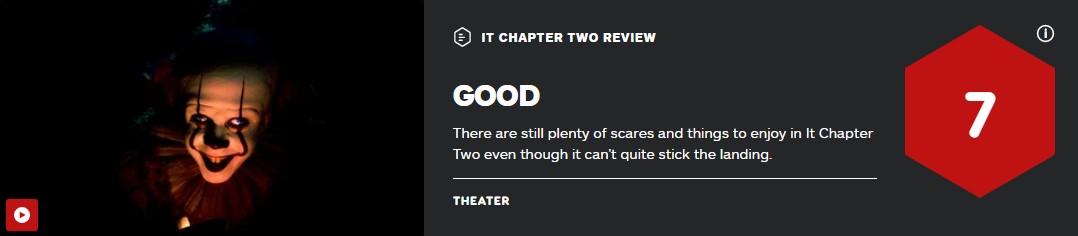 《小丑回魂2》媒体分解禁 IGN 7分 烂番茄79% M站仅60