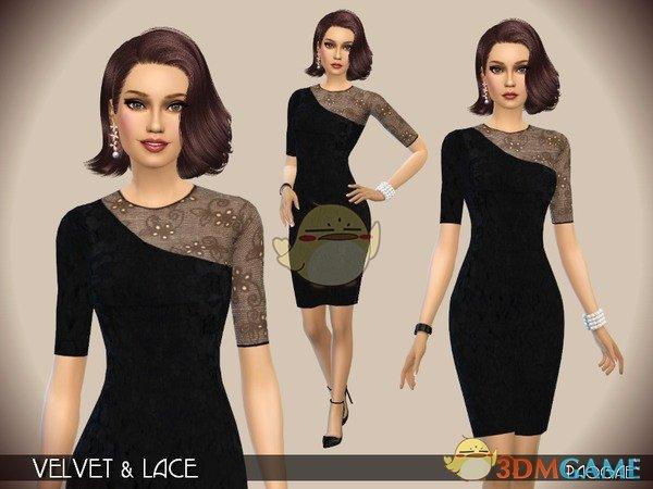 《模拟人生4》女性黑色单露肩礼服MOD
