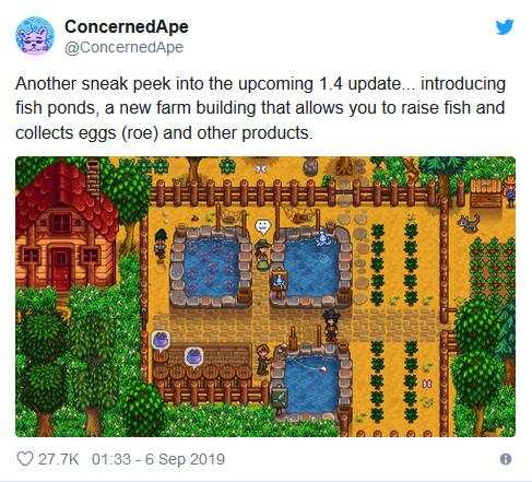 《星露谷物语》1.4更新将加入新设施:可在鱼塘养鱼