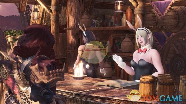 《怪物猎人:世界》集会所女孩们的兔女郎套装MOD