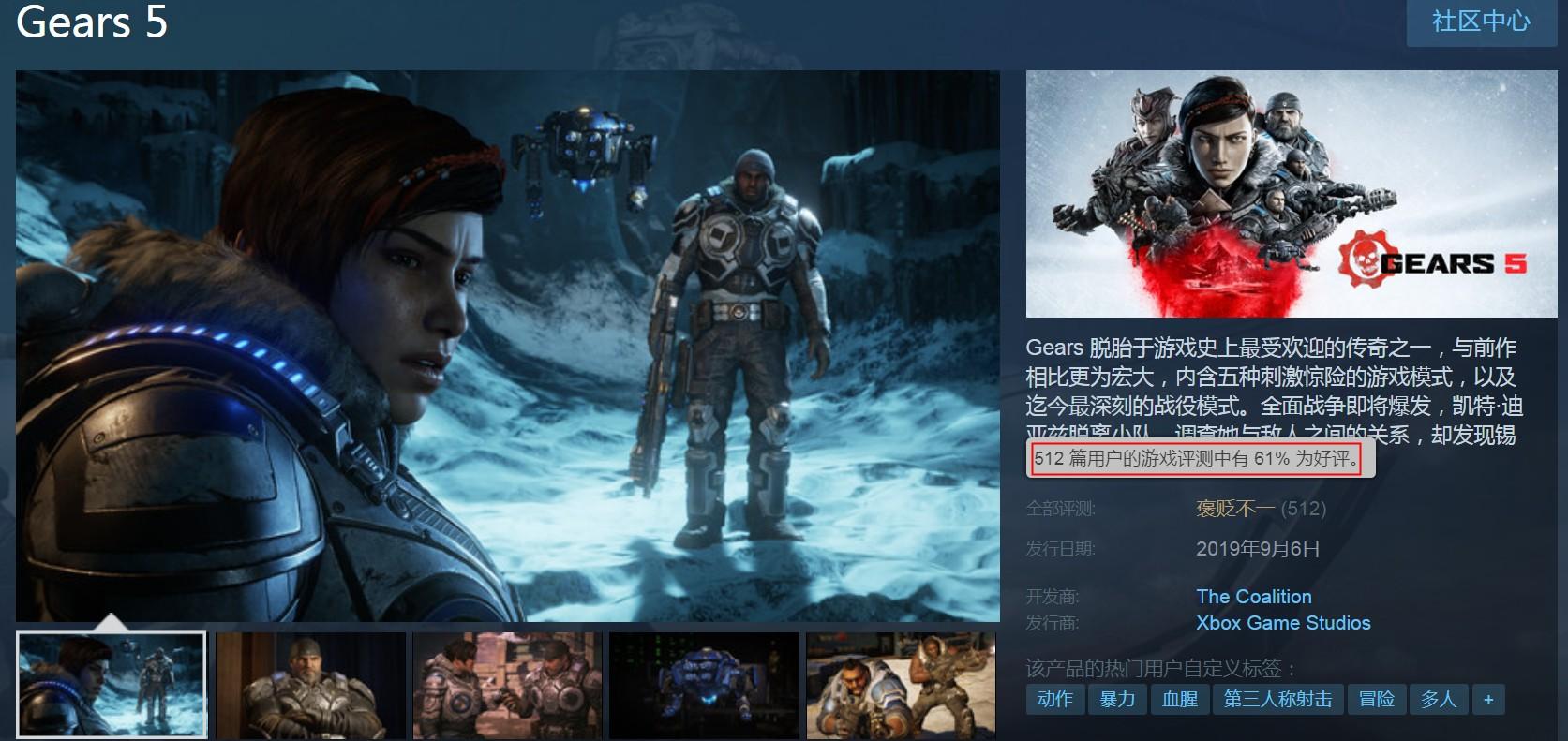 《战争机器5》Steam褒贬不一 差评率39%主要来自中国玩家