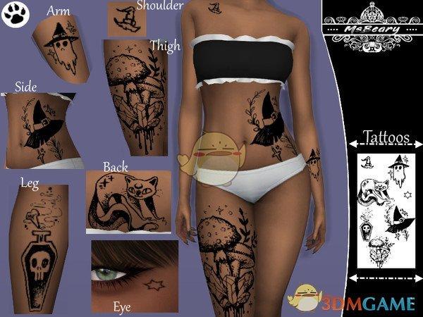 《模拟人生4》多部位卡通纹身MOD