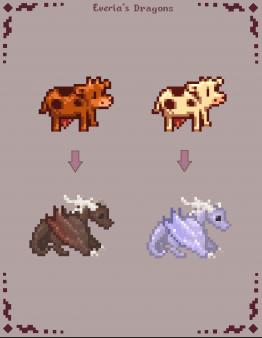 《星露谷物语》精灵龙外观的牛MOD