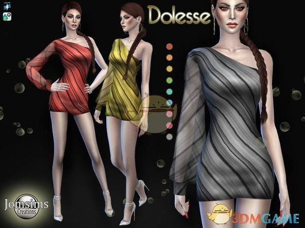 《模拟人生4》斜条纹女性连衣裙MOD