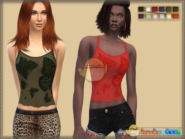 《模拟人生4》女性蕾丝蝴蝶刺绣上衣MOD