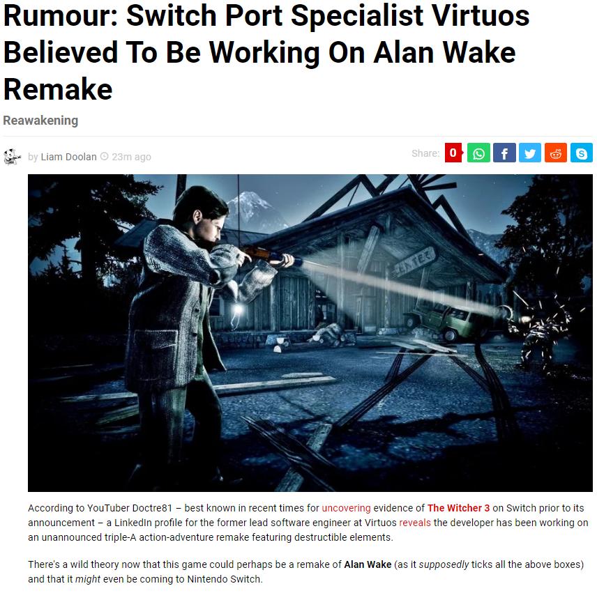 传闻 《心灵杀手》 重制版开发中 或将登陆Switch平台