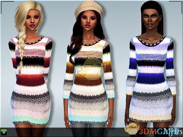 《模拟人生4》条纹多彩精致毛衣MOD