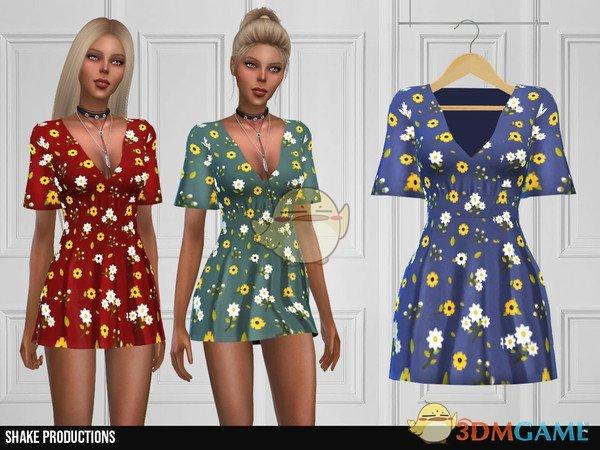 《模拟人生4》美丽印花超短连衣裙MOD