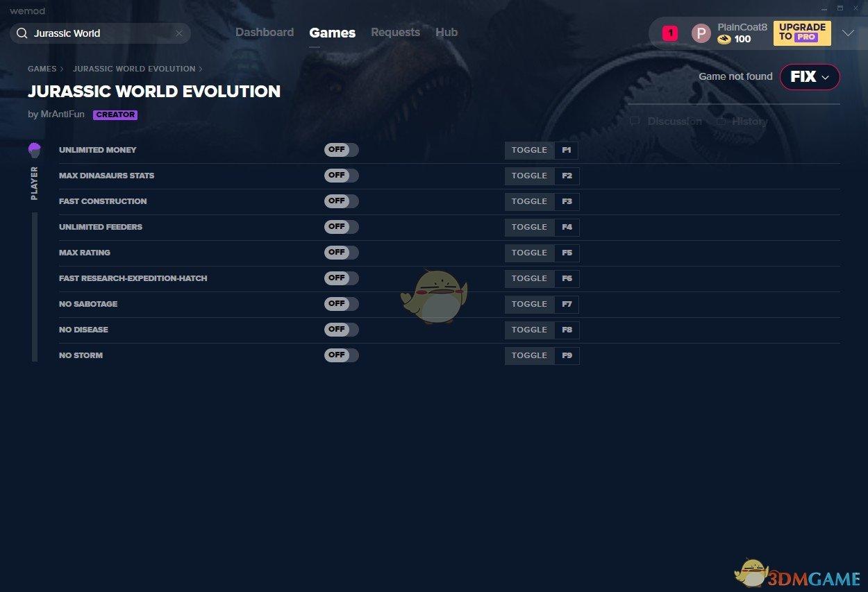 《侏罗纪世界:进化》v2019.08.28九项修改器[MrAntiFun]