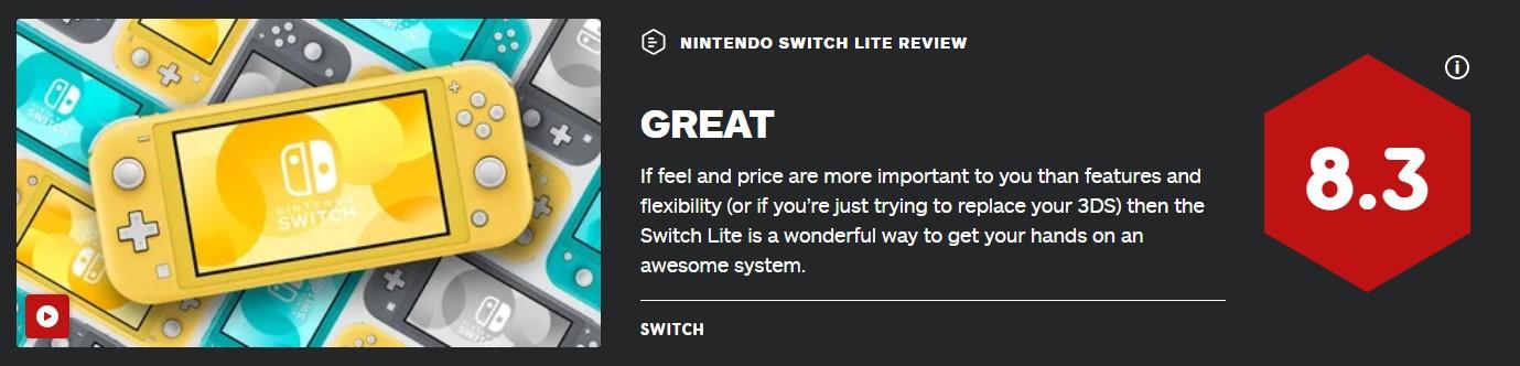 Switch Lite IGN终评8.3分:价格和尺寸还是王道