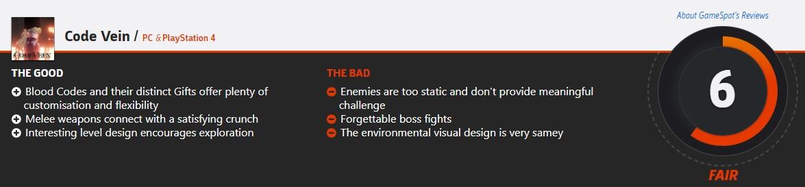 《噬血代码》媒体分解禁 IGN7分 GS仅打6分:游戏机制怪异的魂类游戏