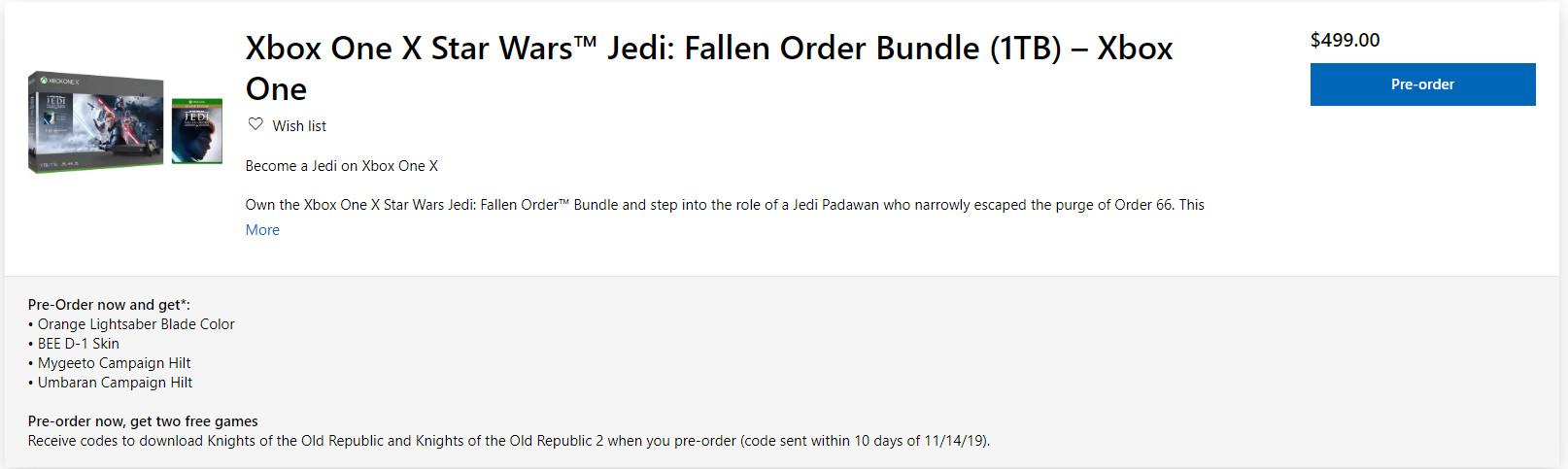 《星战绝地》XB1捆绑套装公布 免费送2个星战游戏