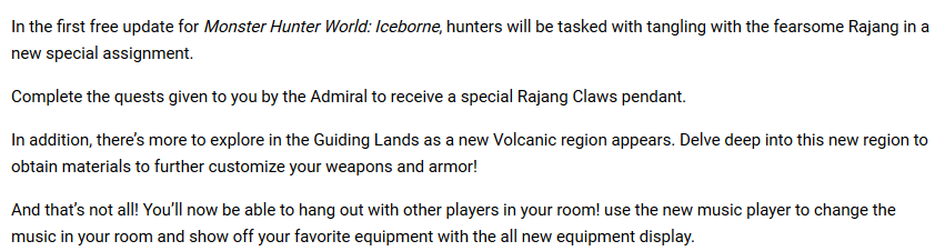 《怪猎世界冰原》公布更新细节:将加入熔岩地带