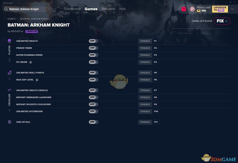 《蝙蝠侠:阿卡姆骑士》v2019.10.01十一项修改器[MrAntiFun][Steam]