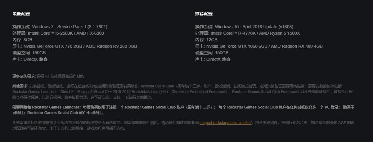 《荒野大镖客2》PC配置公布 需要150GB硬盘空间
