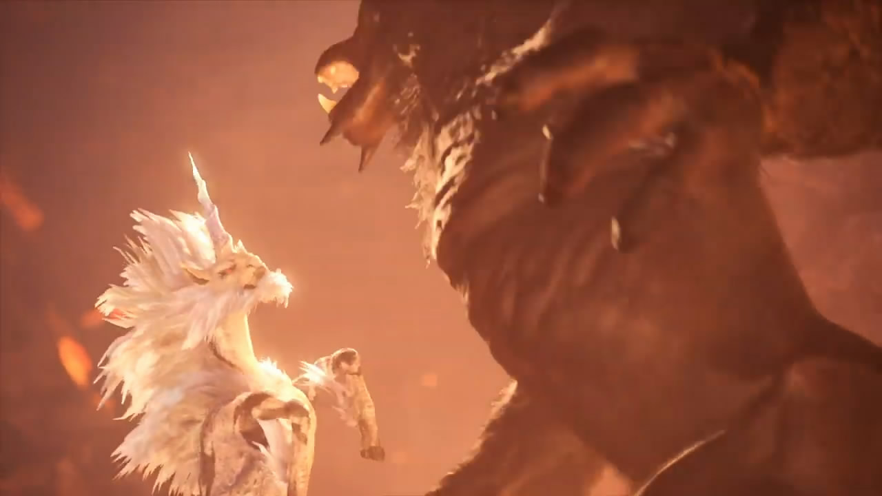 《怪物猎人世界:冰原》金狮子登场动画 华丽变身