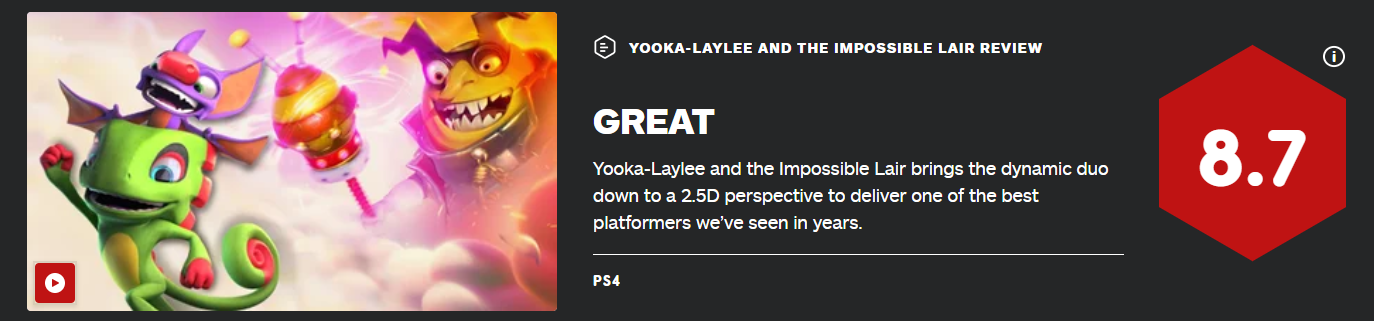 游戏新消息:尤卡莱莉与无妄巢穴IGN评分8.7最好的平台游戏之一