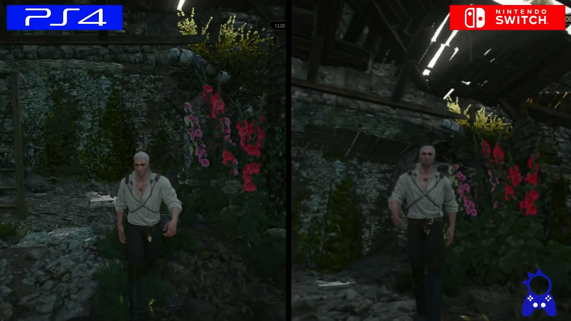 《巫师3》NS版与PS4版画面对比 运行流畅帧数稳定