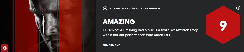 《绝命毒师》电影IGN9分 烂番茄新鲜度高达94%