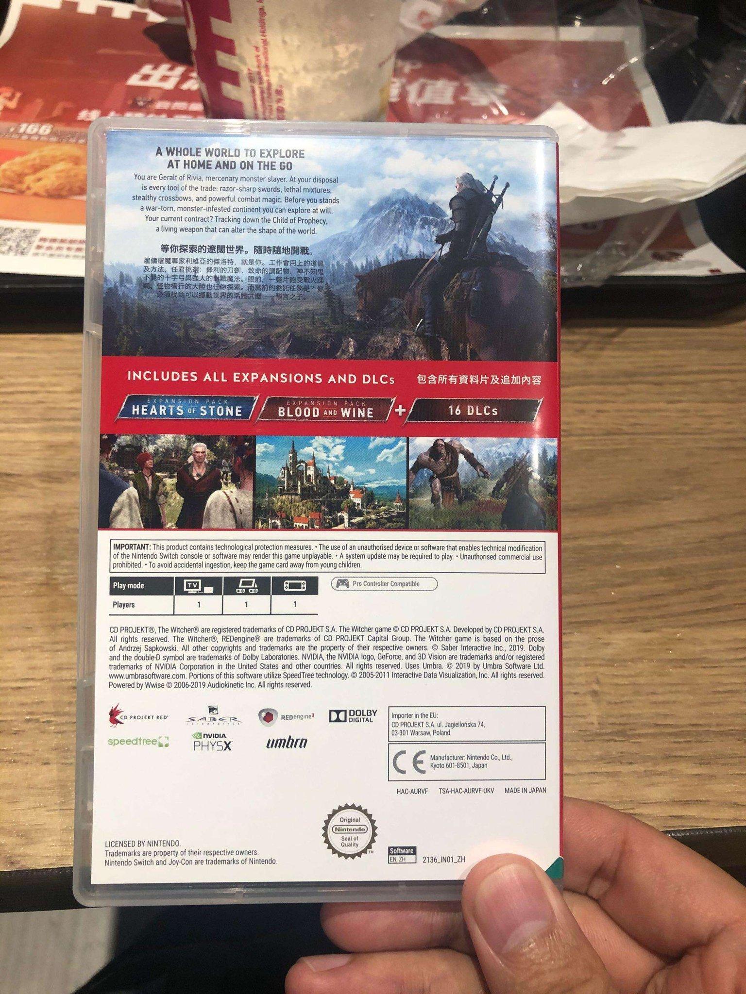 《巫师3》NS中文实体版开箱 内附CDPR真情告白