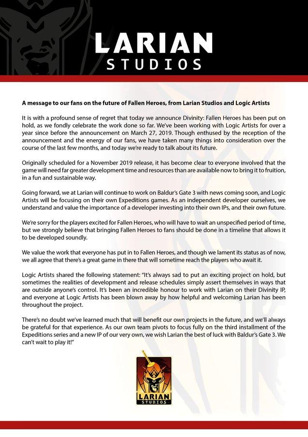 《神界:英雄再临》开发被搁置 拉瑞安将专注《博德之门3》