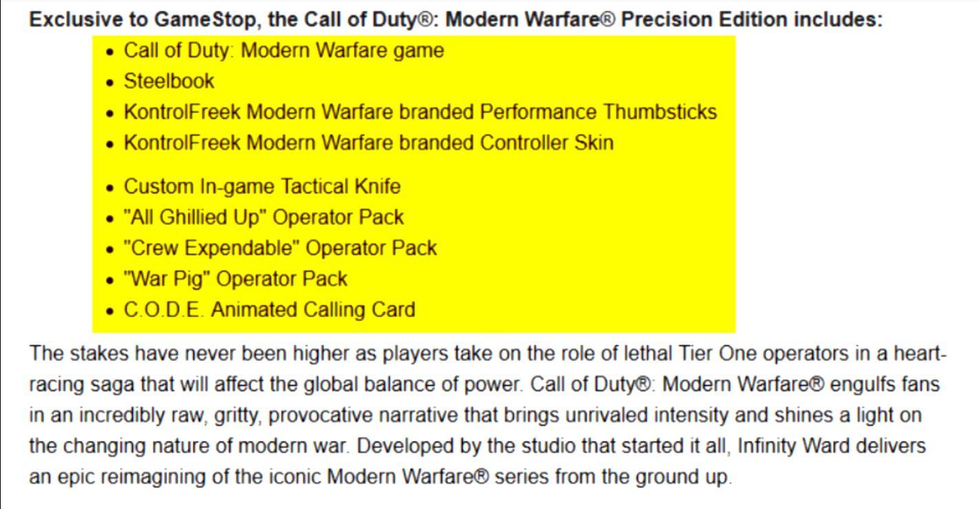 《使命召唤16:现代战争》不同版本之间的说明和比较