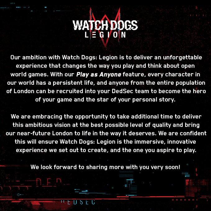 《看门狗:军团》开发团队回应跳票:游戏体验会更好