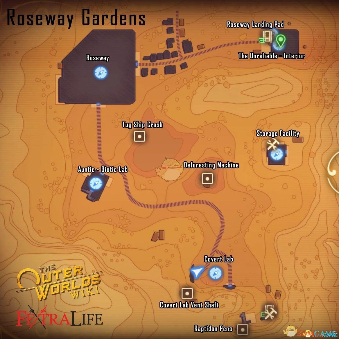 《天外世界》玫瑰镇关键地点及传送点位置分享