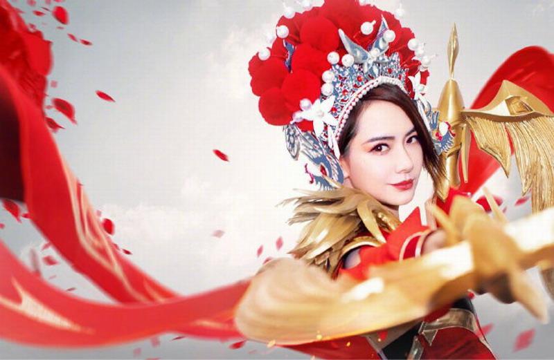 演员戚薇Cos《王者荣耀》虞姬 为老公李承铉庆生