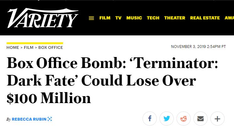 投资打水漂!《终结者6:黑暗命运》或亏损1亿美元