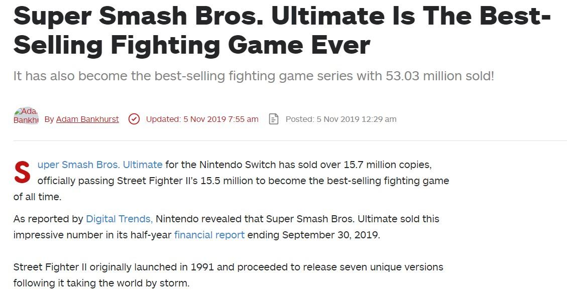 《任天堂明星大乱斗特别版》超越《街霸2》成为史上最畅销格斗游戏