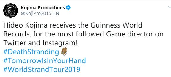 小岛秀夫喜提吉尼斯世界纪录:粉丝数最多的游戏监督
