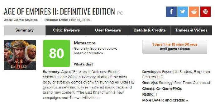 《帝国时代2:决定版》媒体分解禁 M站均分80 PCGamer 78分