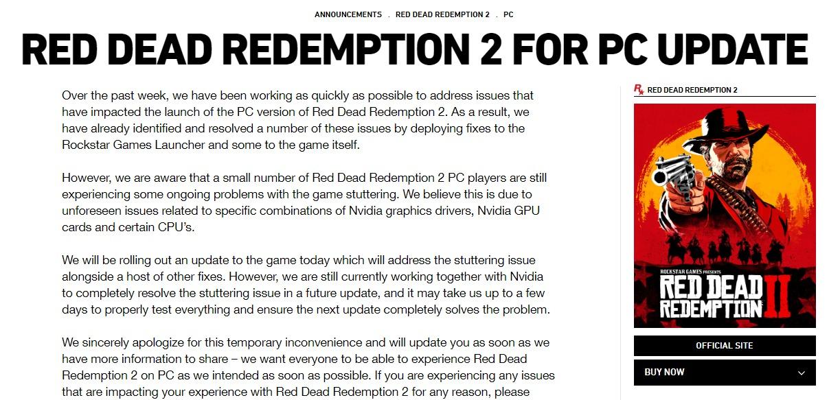 R星为《大镖客2》问题致歉 已联手英伟达修复PC版